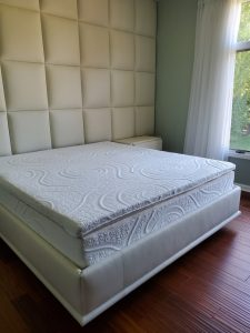 Upholster headboard wall panel and bed frame